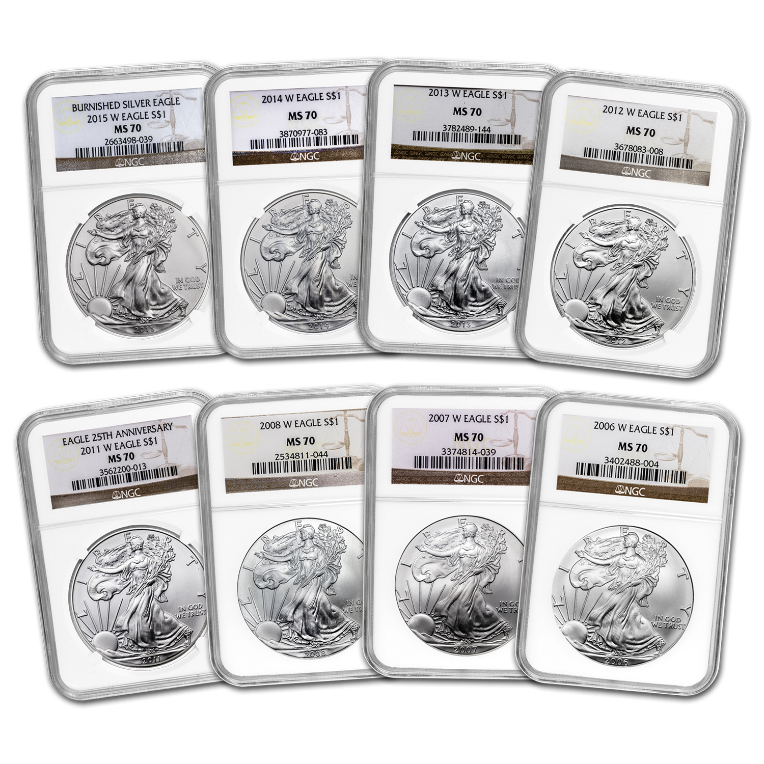 2006-2015 8-Coin Burnished Silver Eagle Set MS-70 NGC