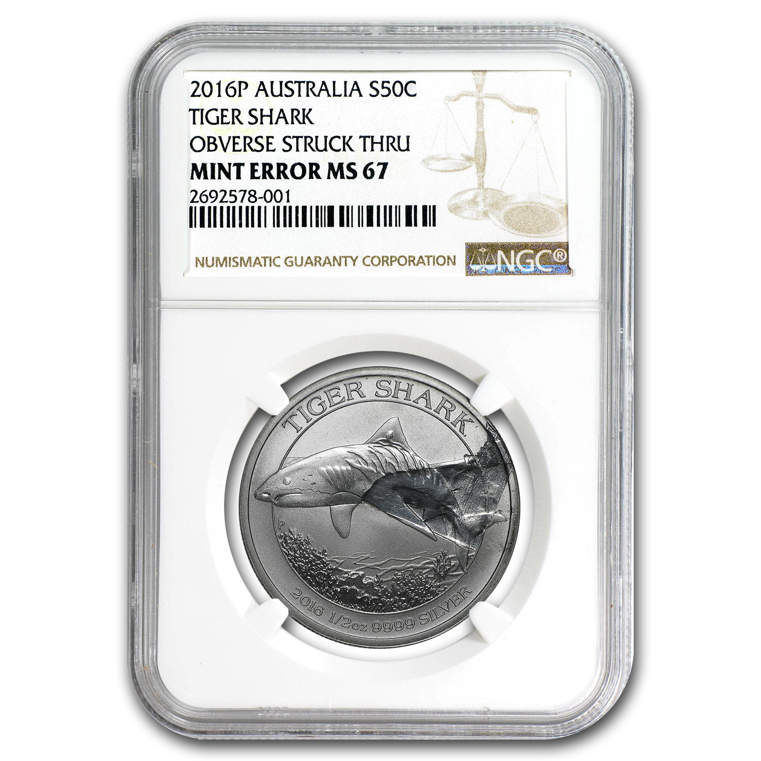 2016 Australia 1/2 oz Silver Tiger Shark MS-67 NGC (Mint Error)