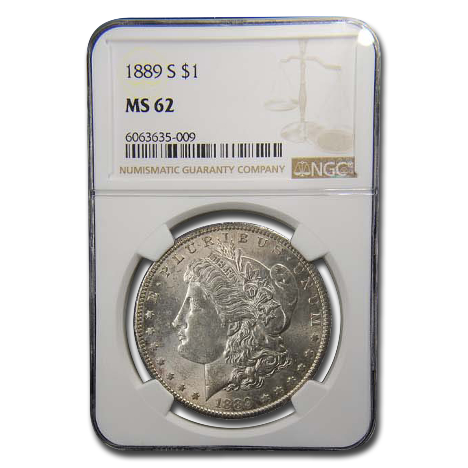 1889-S Morgan Dollar MS-62 NGC