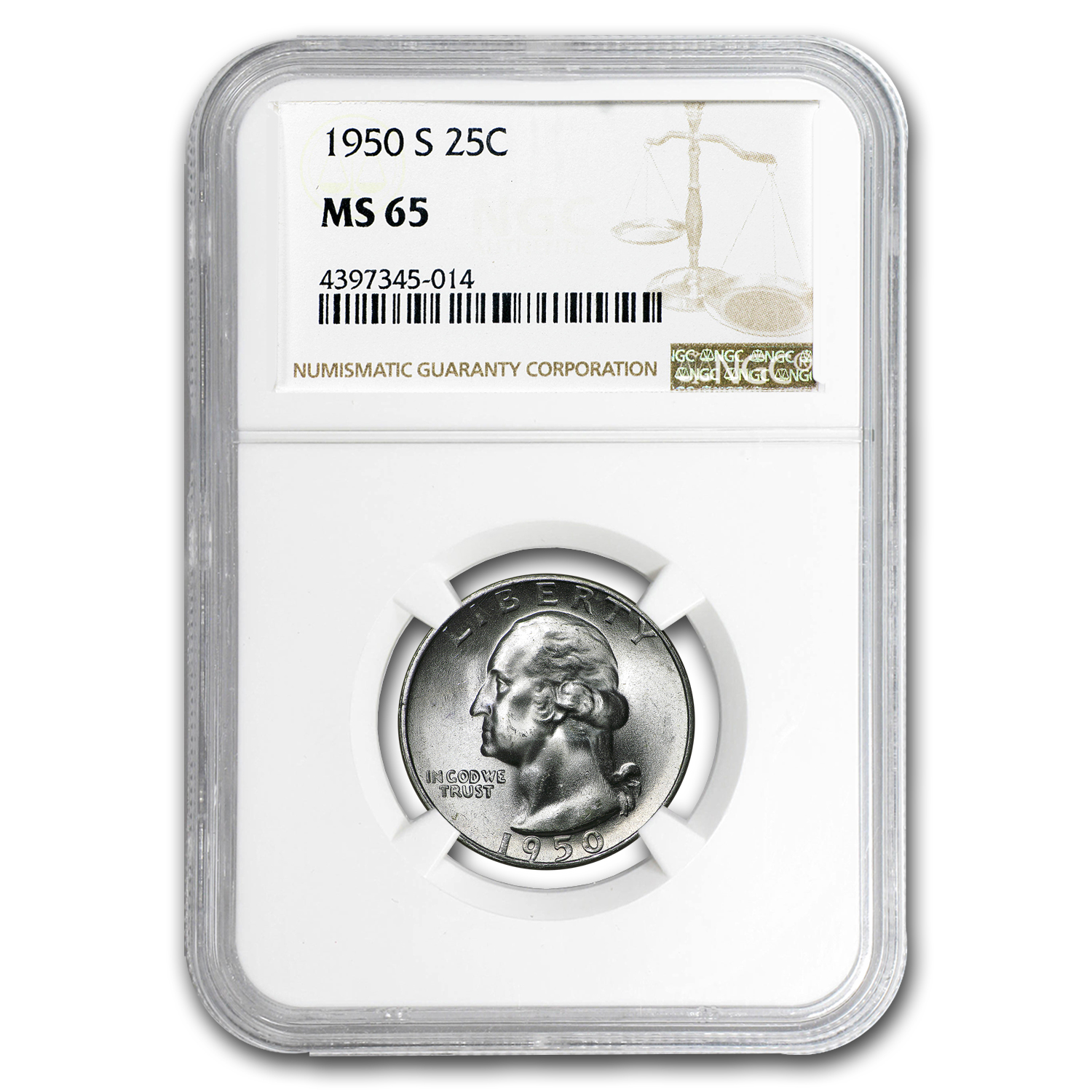 1950-S Washington Quarter MS-65 NGC