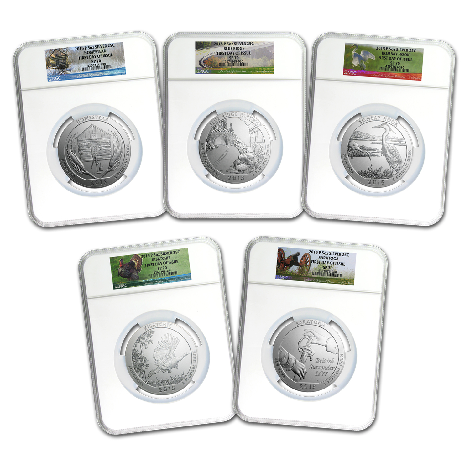 2015-P 5-Coin 5 oz Silver ATB Set SP-70 NGC (Early Release)