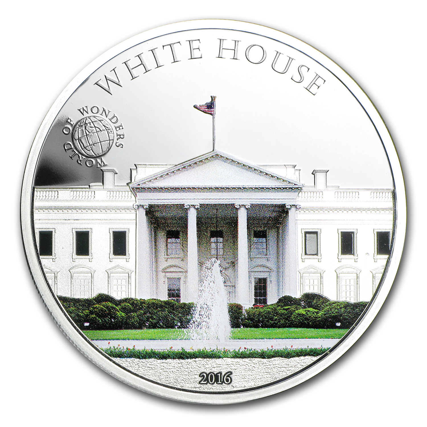 2016 Palau Proof Silver $5 World of Wonders (White House)