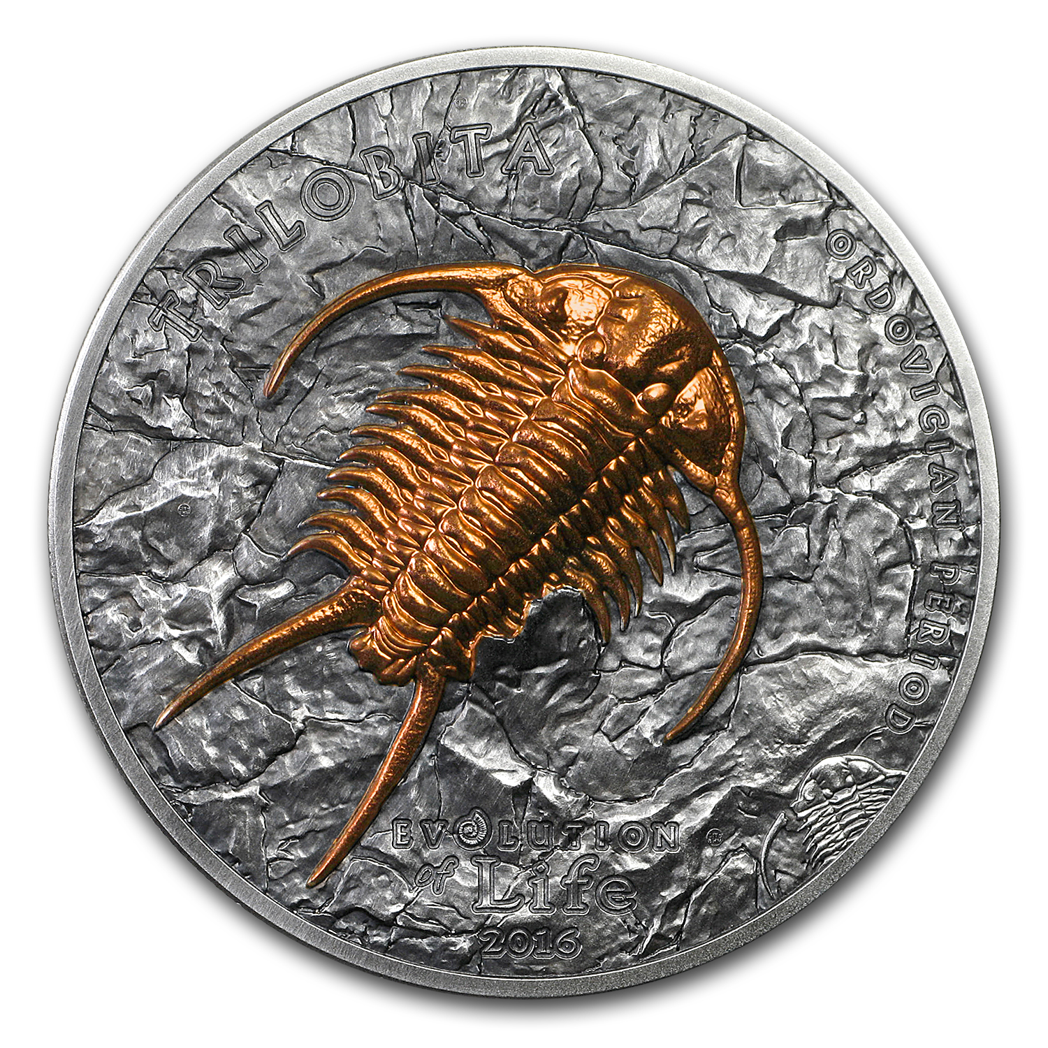 2016 Mongolia 1 oz Silver 500 Togrog Evolution of Life Trilobite