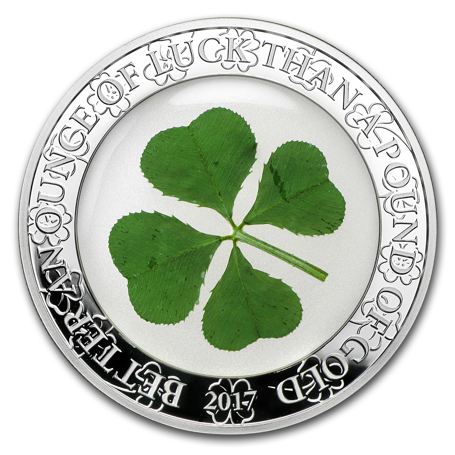 2017 Palau 1 oz Silver $5 Four-Leaf Clover Ounce of Luck Proof