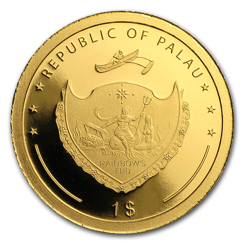2017 Palau 1 Gram Gold 1 Four Leaf Clover Gold Coins