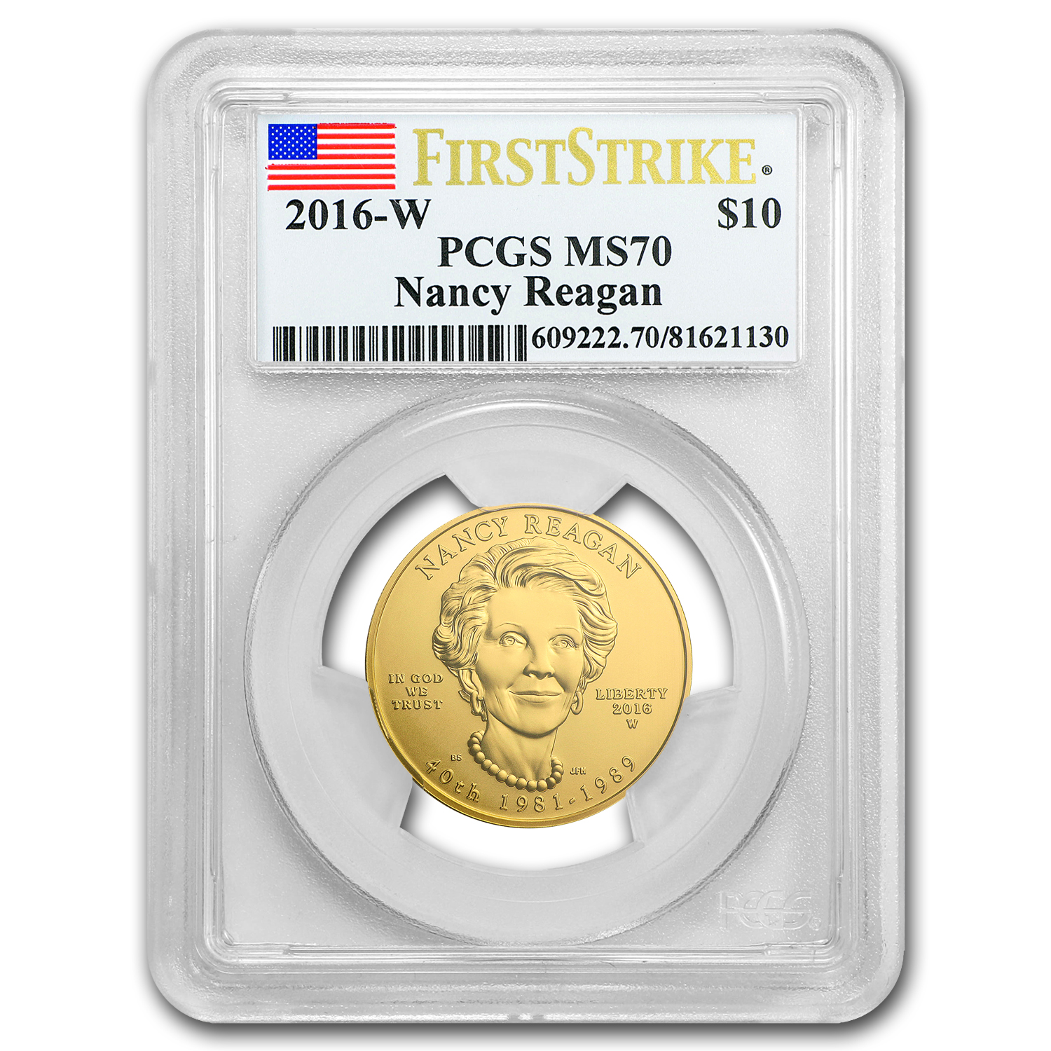 2016-W 1/2 oz Gold Nancy Reagan MS-70 PCGS (FS)