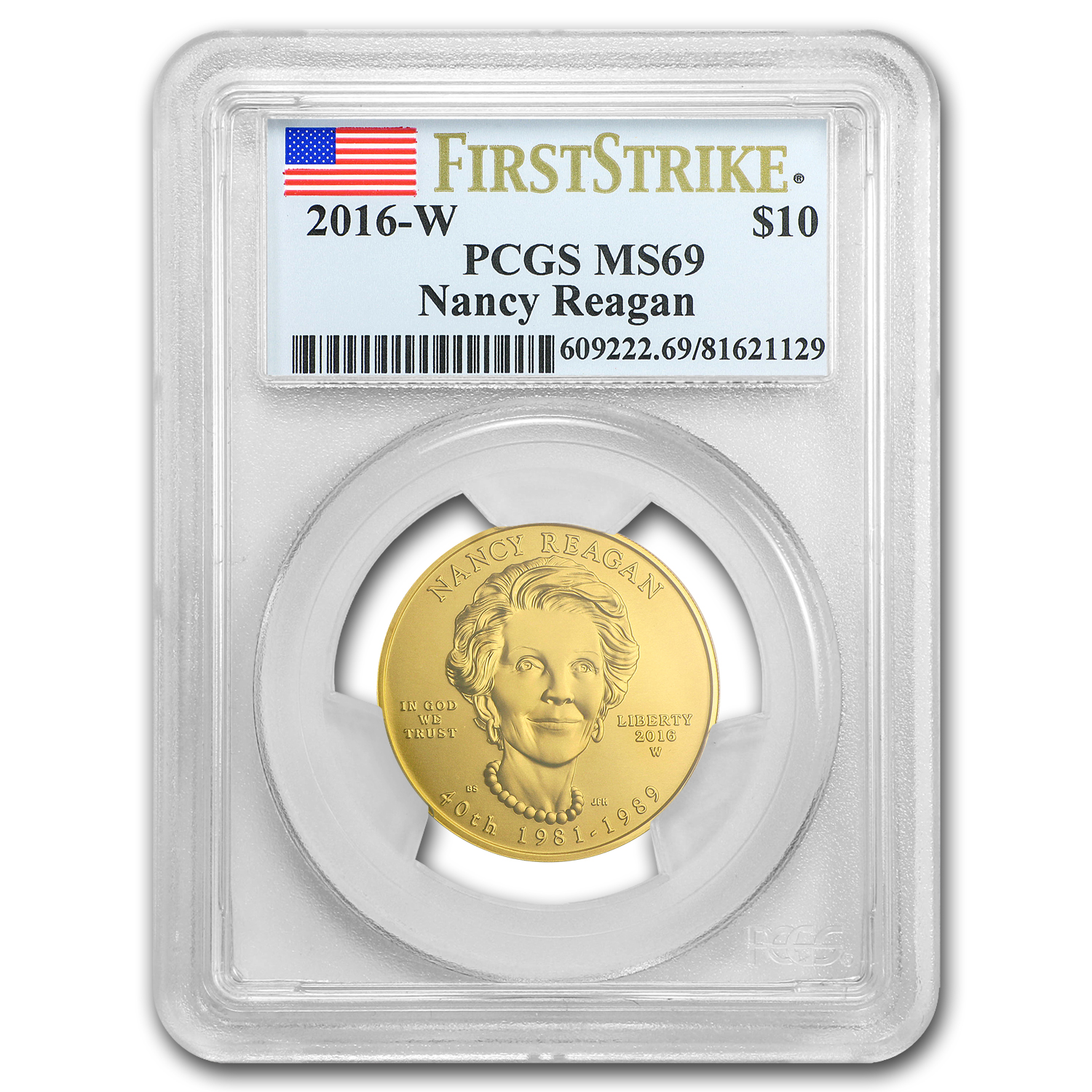 2016-W 1/2 oz Gold Nancy Reagan MS-69 PCGS (FS)