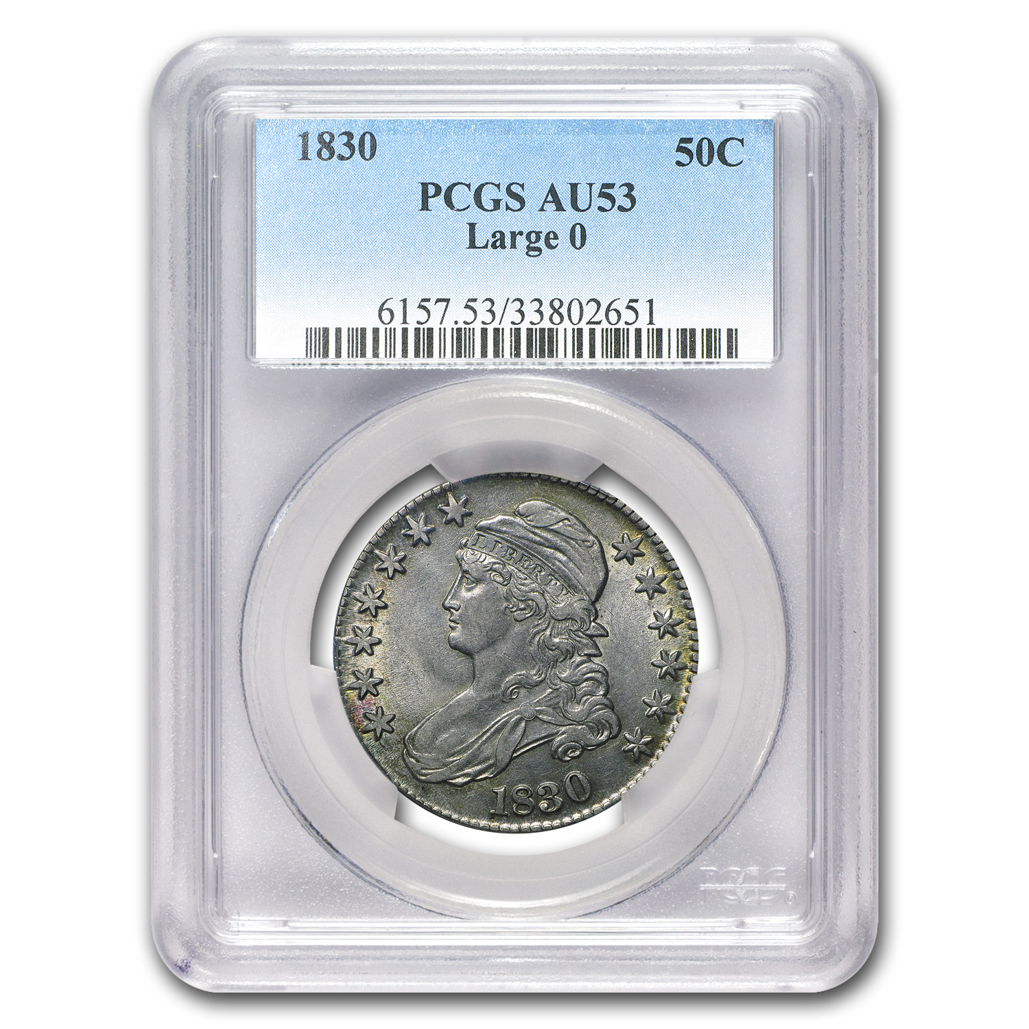 1830 Capped Bust Half Dollar Large 0 AU-53 PCGS