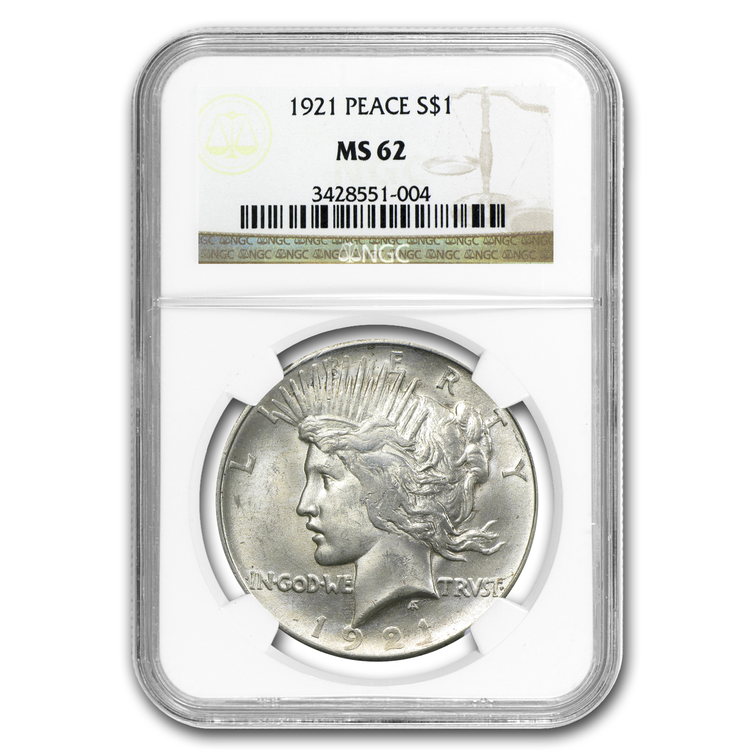 1921 Peace Dollar MS-62 NGC