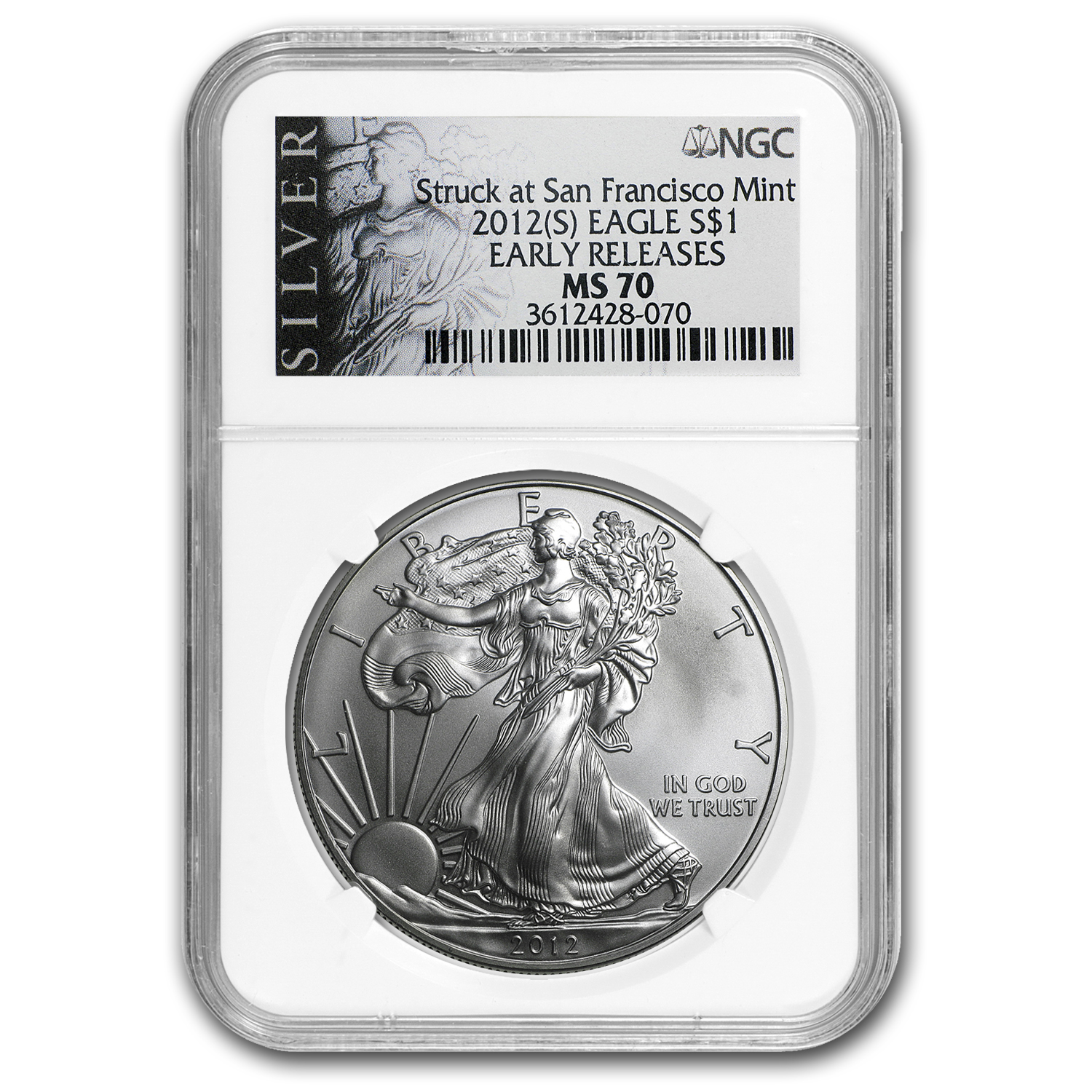 2012 (S) Silver American Eagle MS-70 NGC (ALS Label, ER)