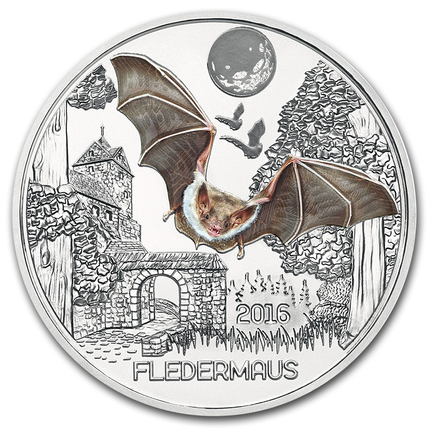 2016 Austria Cupro-Nickel €3 Colorful Creatures (Bat)