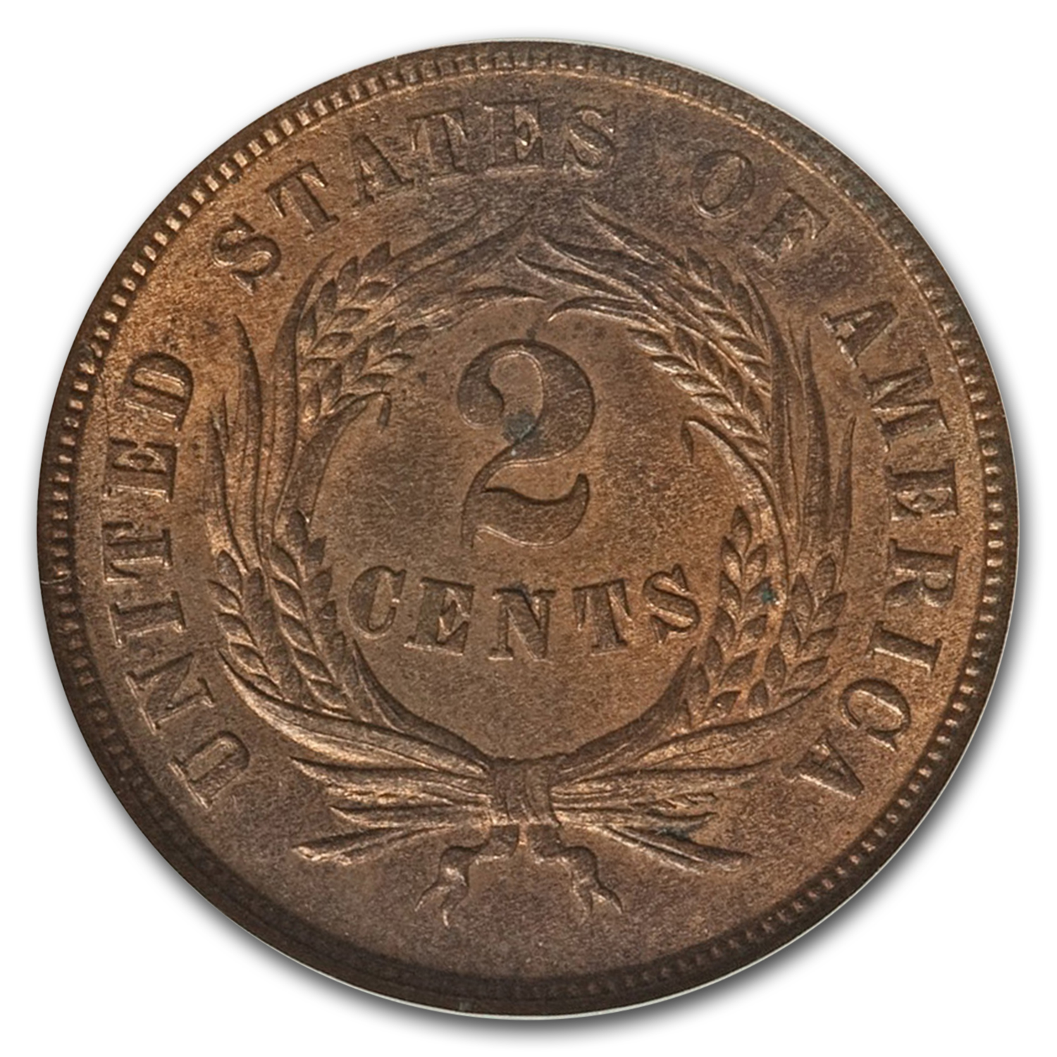 1865 Two Cent Piece MS-65 NGC (Red/Brown)