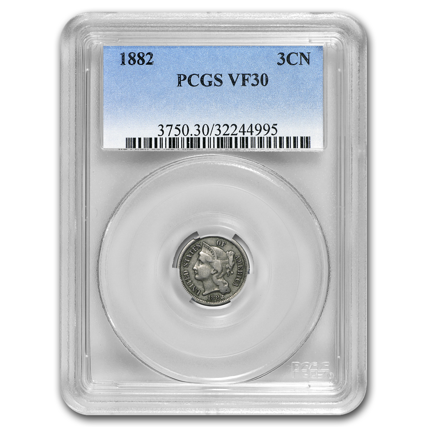 1882 Three Cent Nickel VF-30 PCGS