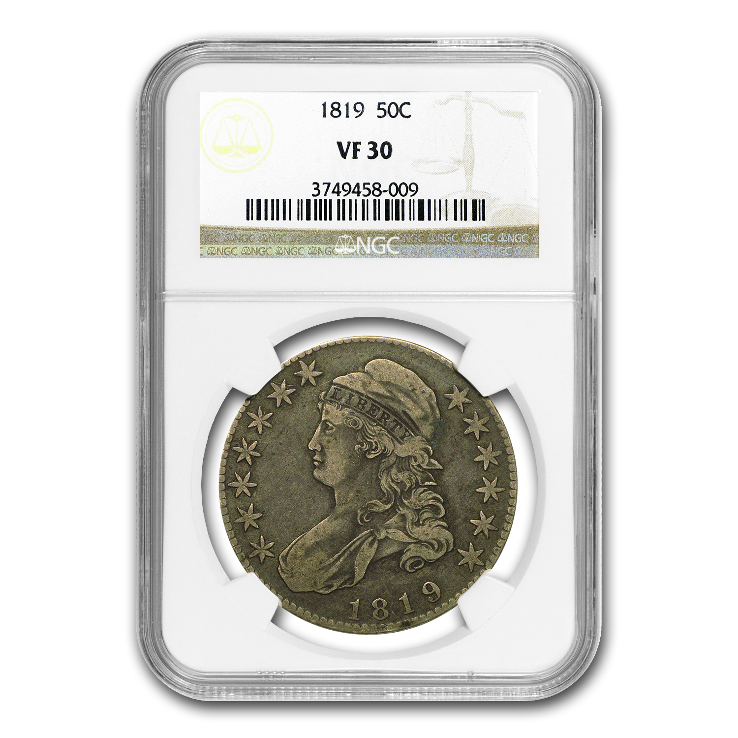 1819 Capped Bust Half Dollar VF-30 NGC