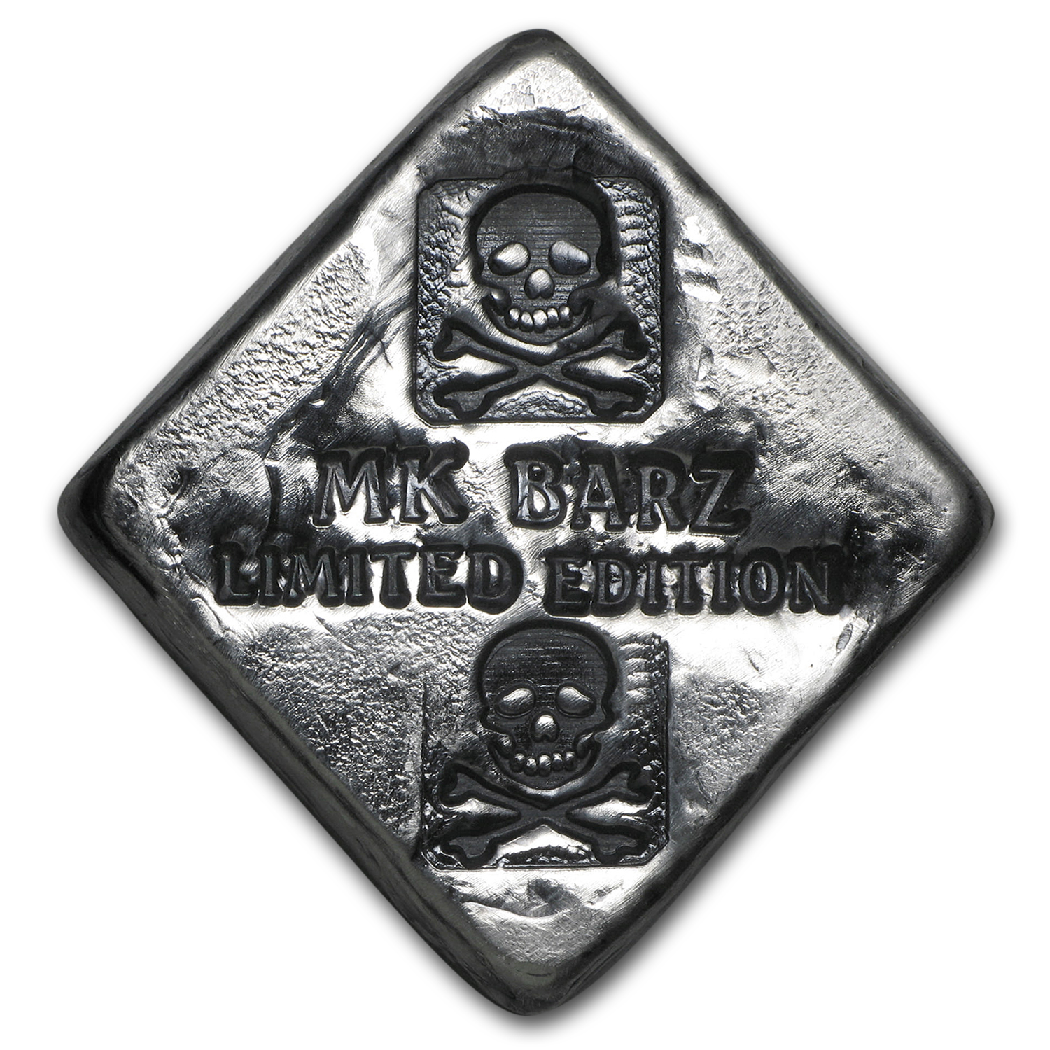 2 oz Silver Diamond - MK Barz & Bullion (Limited, Skull & Bones)