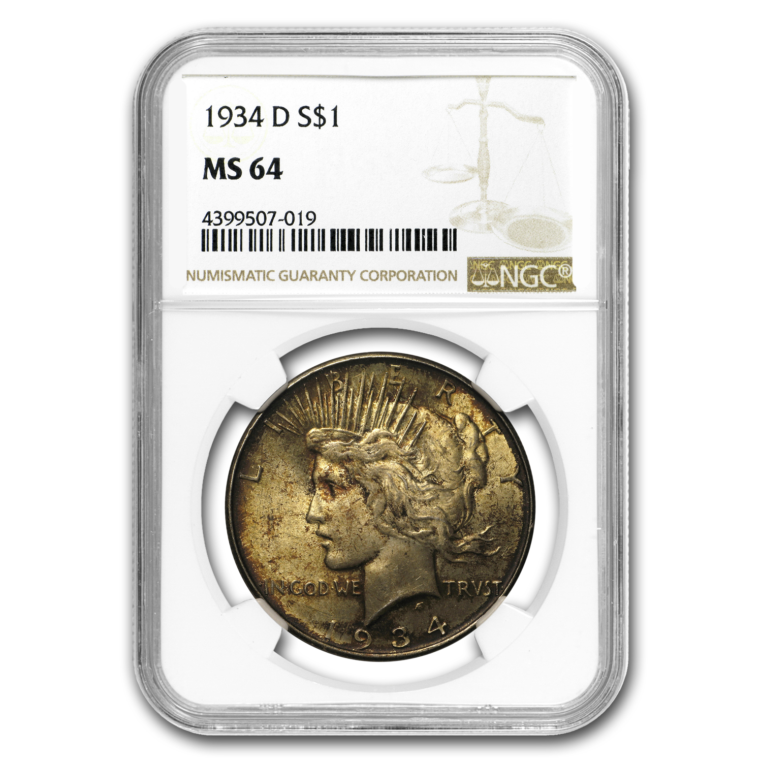 1934-D Peace Dollar MS-64 NGC (Toned)