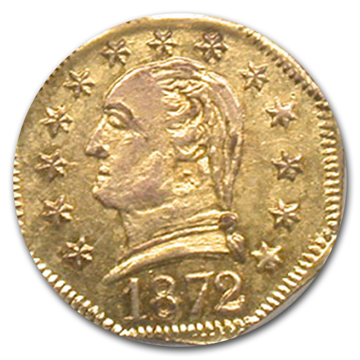 1872 25c Washington Head Fractional Gold MS-62 NGC (BG-723)