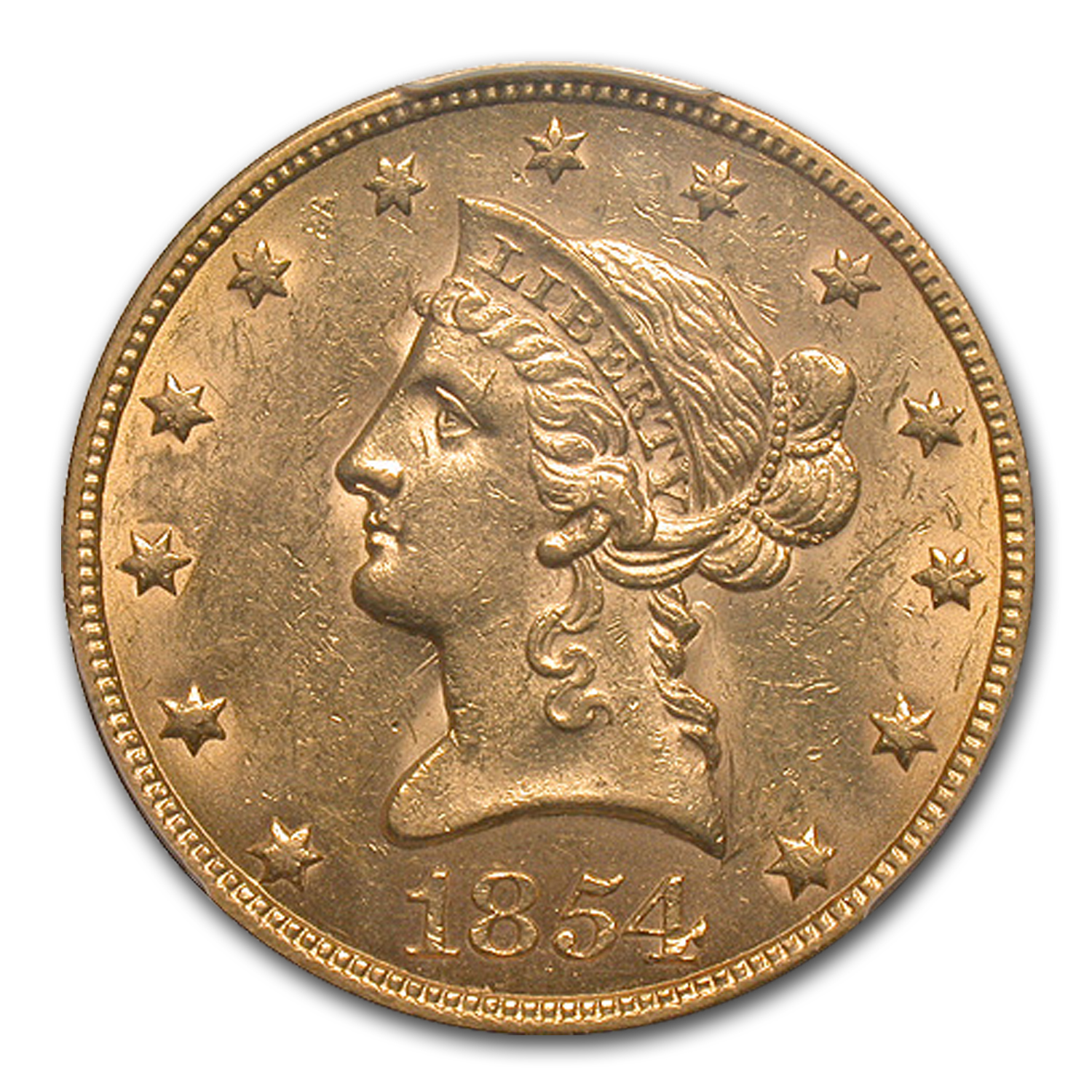 1854 $10 Liberty Gold Eagle MS-61 PCGS