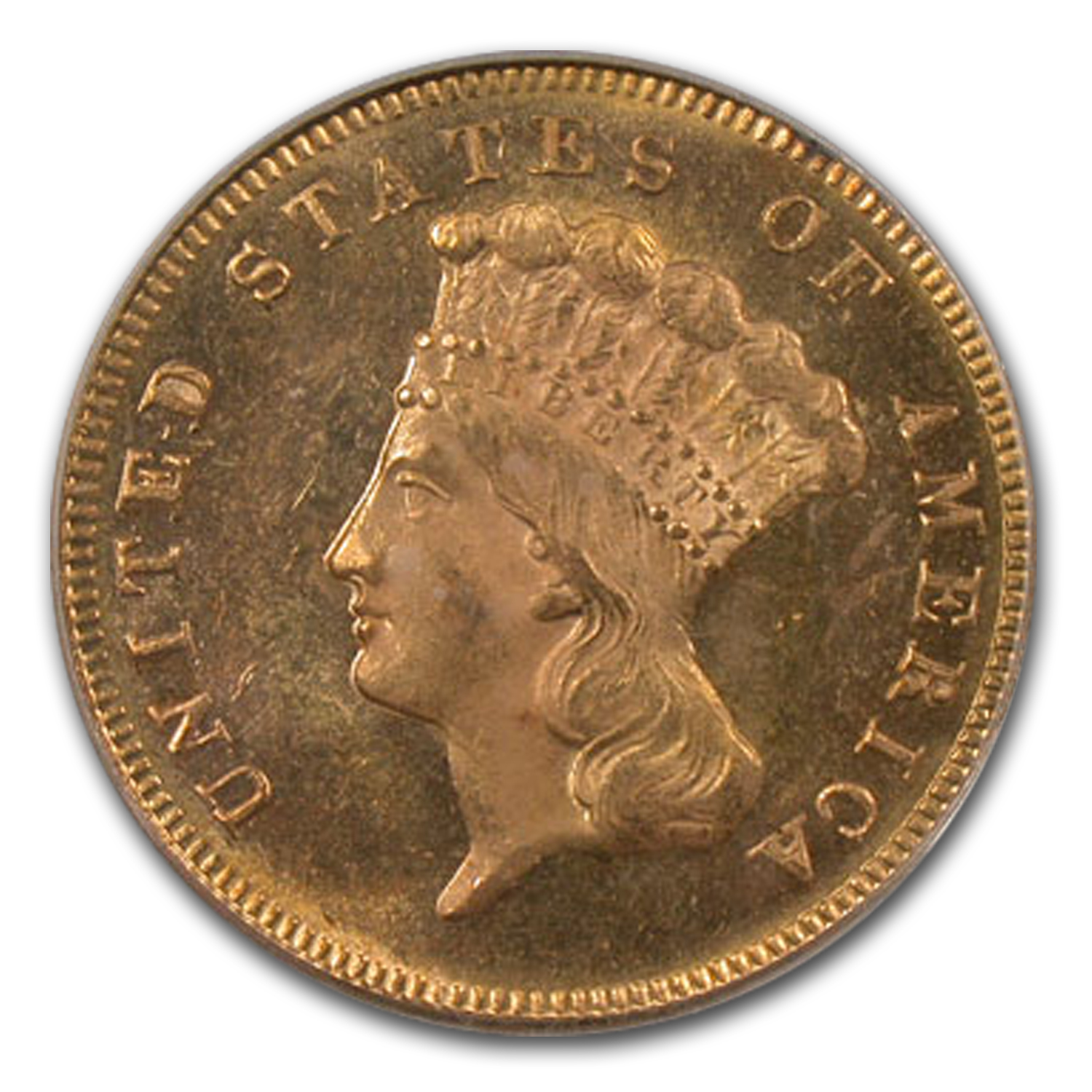 1872 $3 Gold Princess MS-64  PCGS