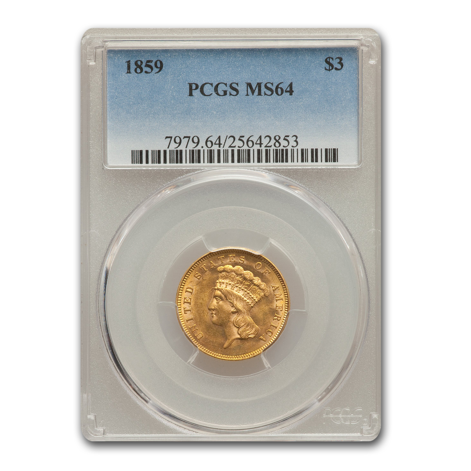 1859 $3 Gold Princess MS-64  PCGS