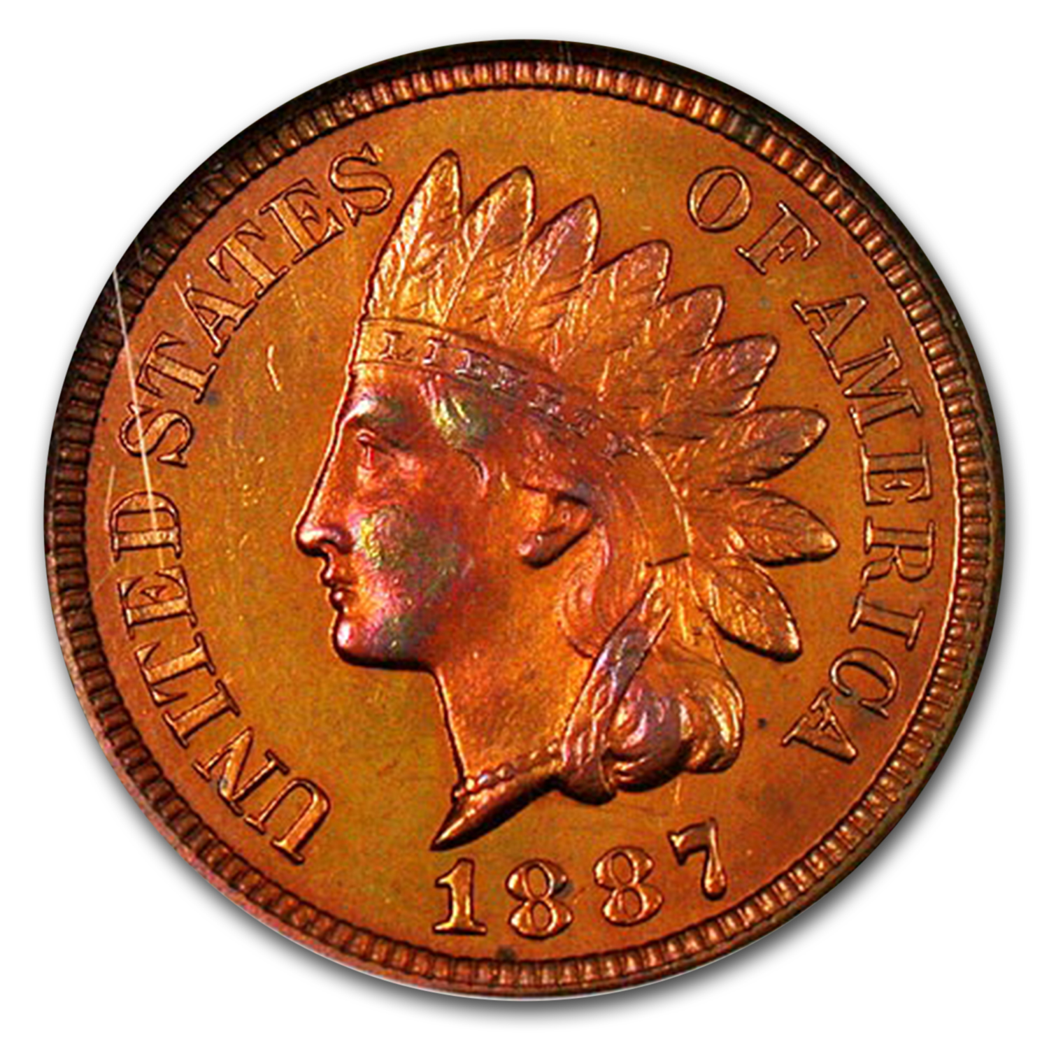 1887 Indian Head Cent PF-65 NGC (Red)
