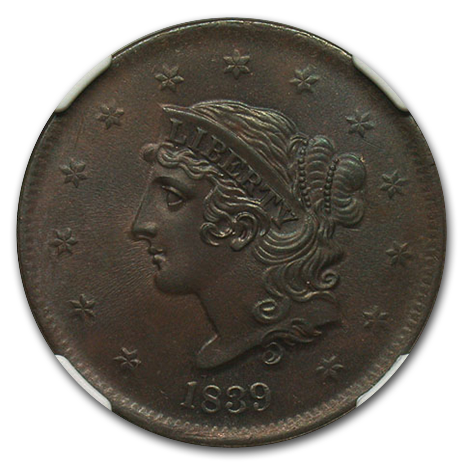 "1839 Large Cent ""Booby Head"" MS-66 NGC (Brown)"