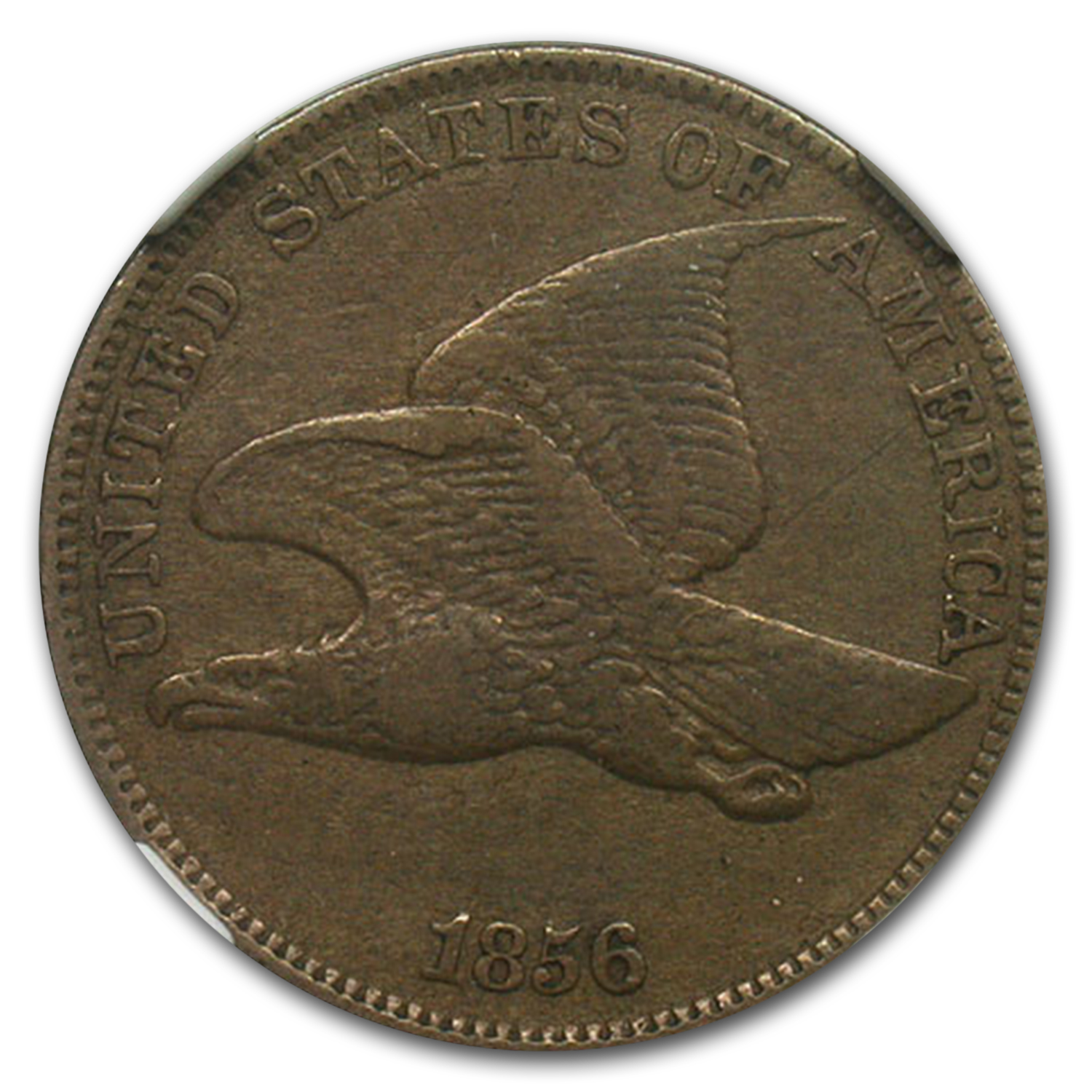 1856 Flying Eagle Cent PF-40 NGC (Reverse Struck Thru Mint Error)