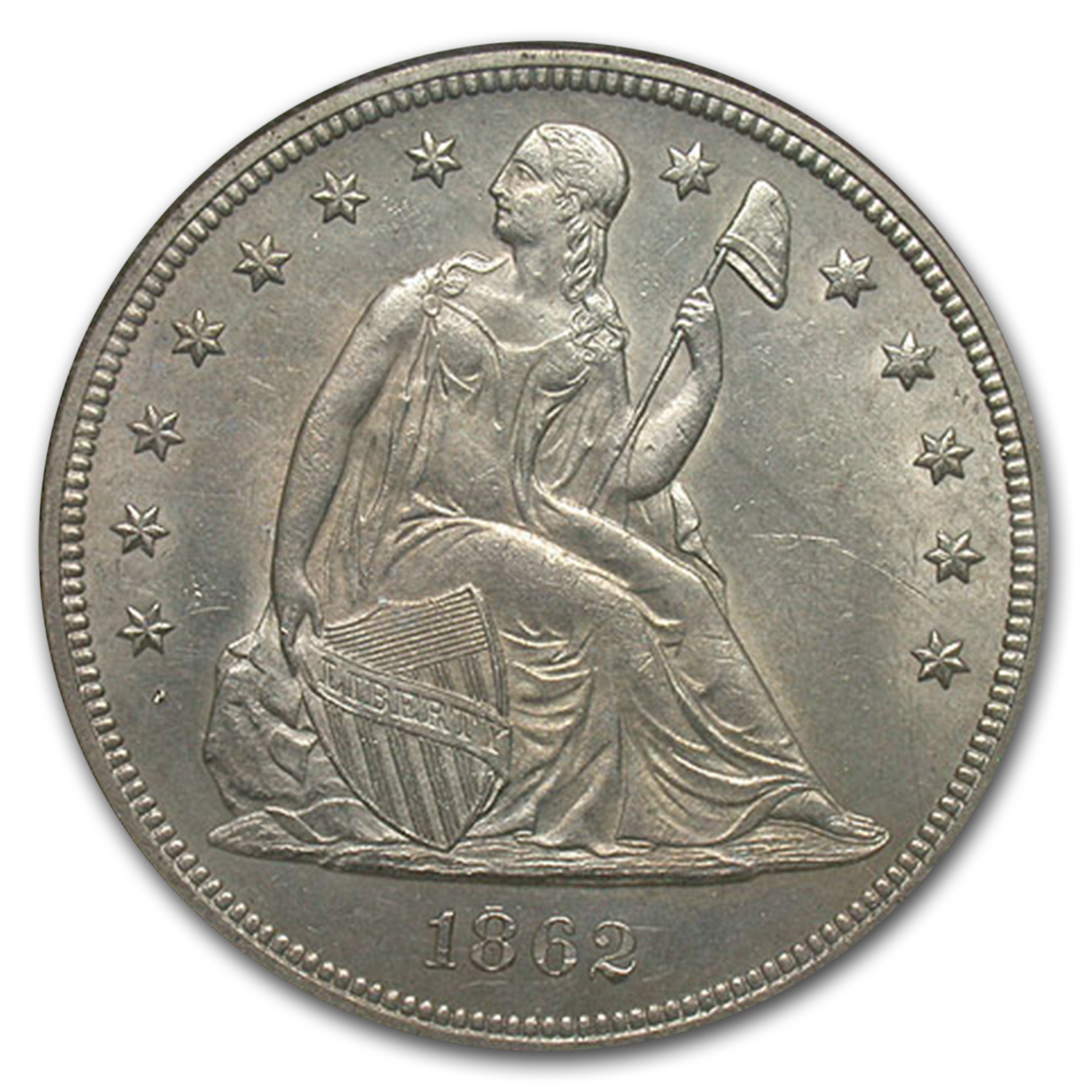1862 Liberty Seated Dollar MS-62 NGC