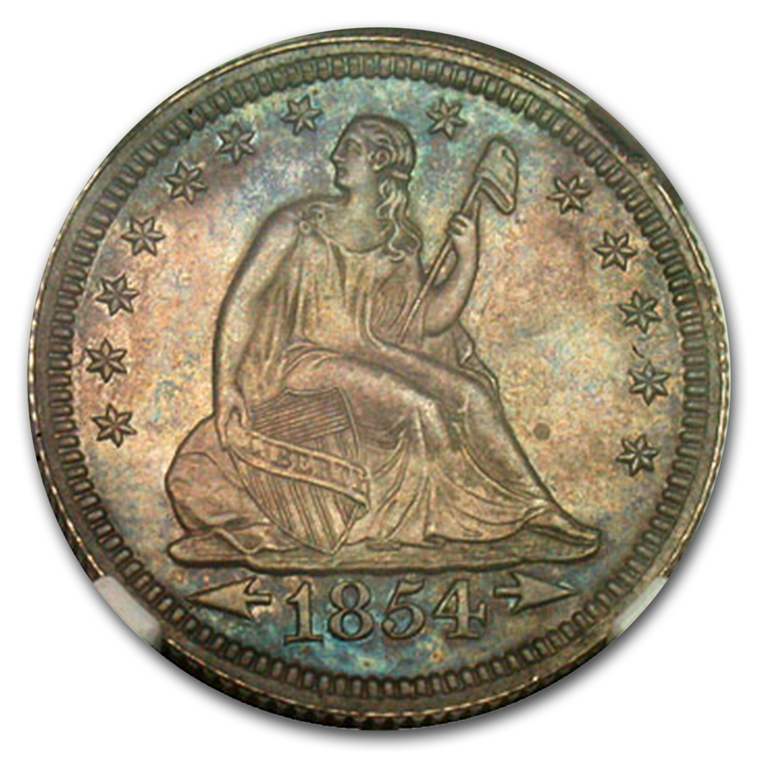 1854 Arrows Liberty Seated Quarter PF-64 NGC