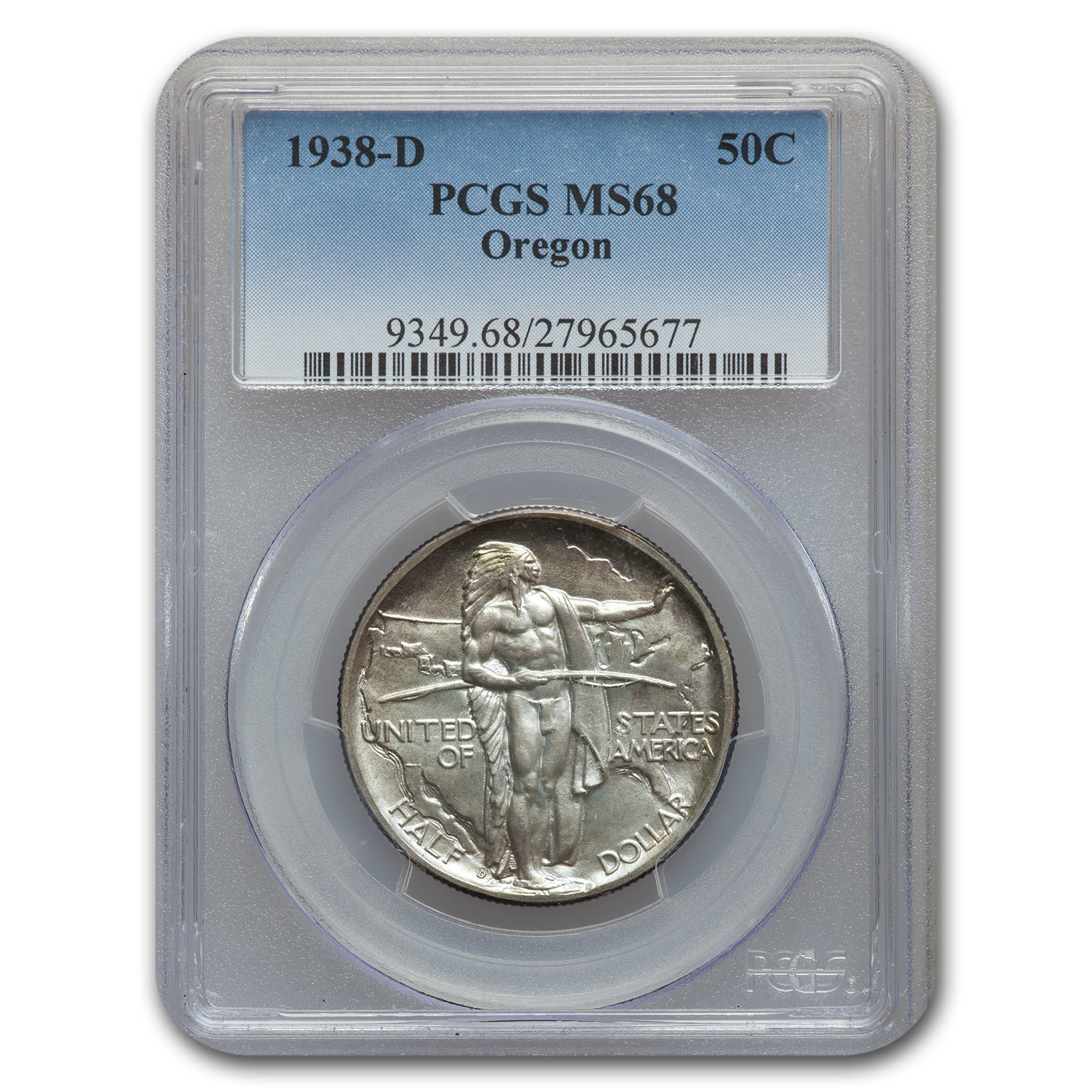 1938-D Oregon Trail Commemorative Half Dollar MS-68 PCGS