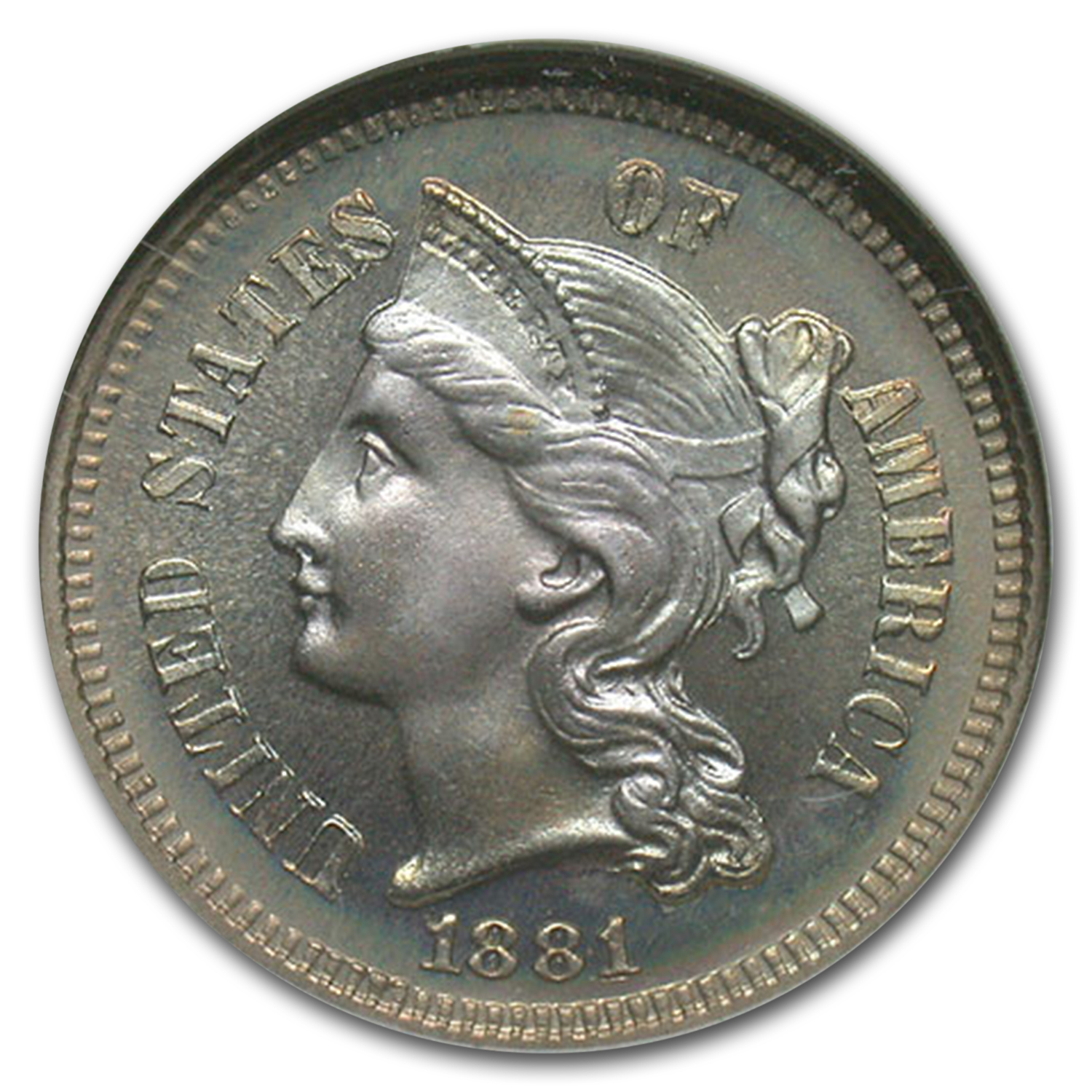 1881 Three Cent Nickel PF-68* NGC