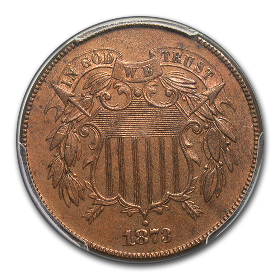 1873 Two Cent PR-63 PCGS (Closed 3, Red/Brown)