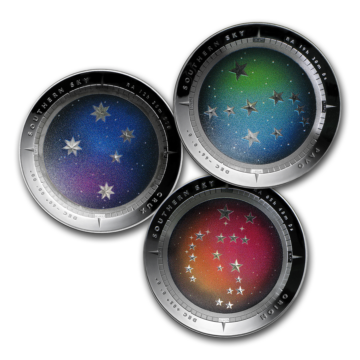 2012-2014 Australia Proof Silver $5 Color Domed Southern Sky Set