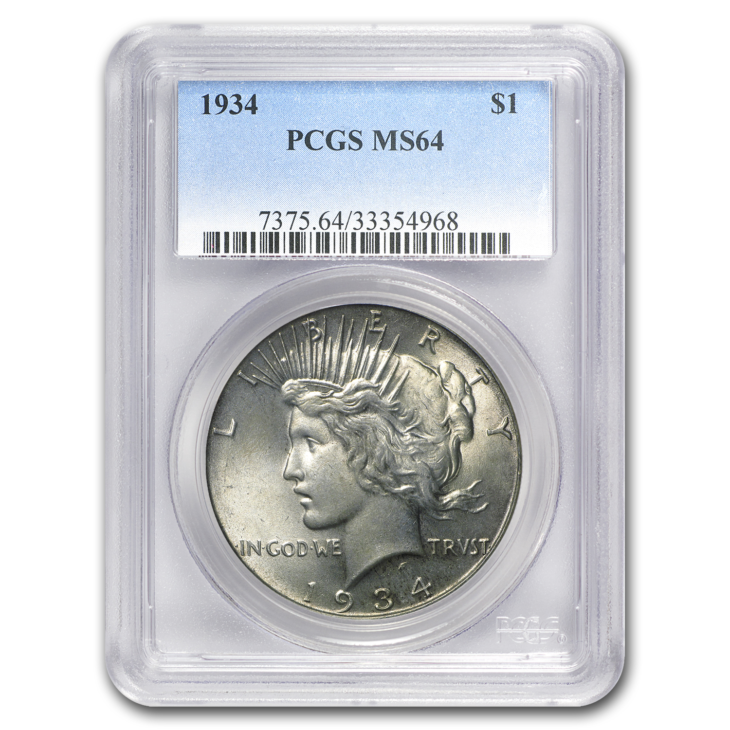 1934 Peace Dollar MS-64 PCGS (light toning)