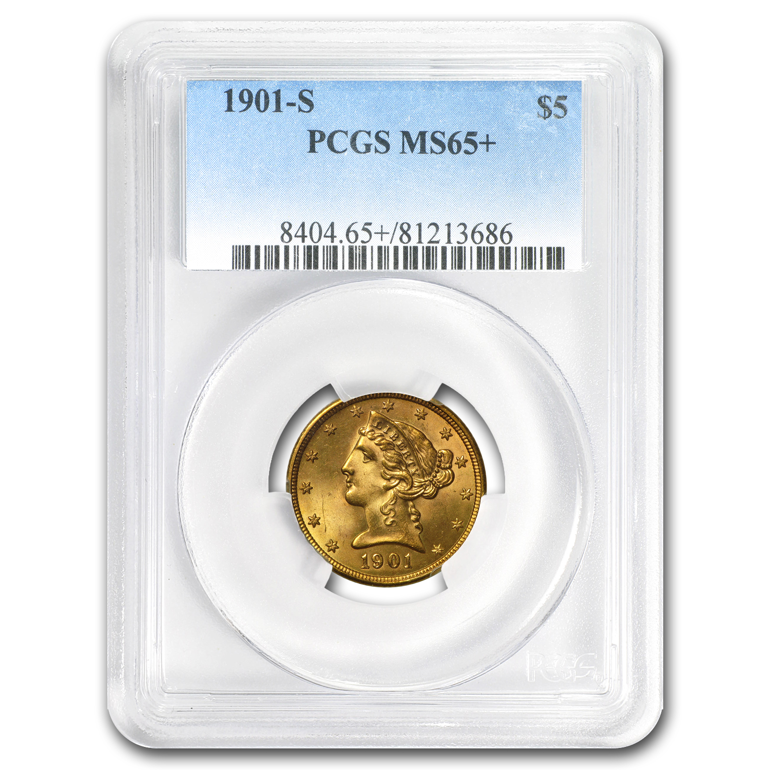 $5 Liberty Gold Half Eagle MS-65+ PCGS