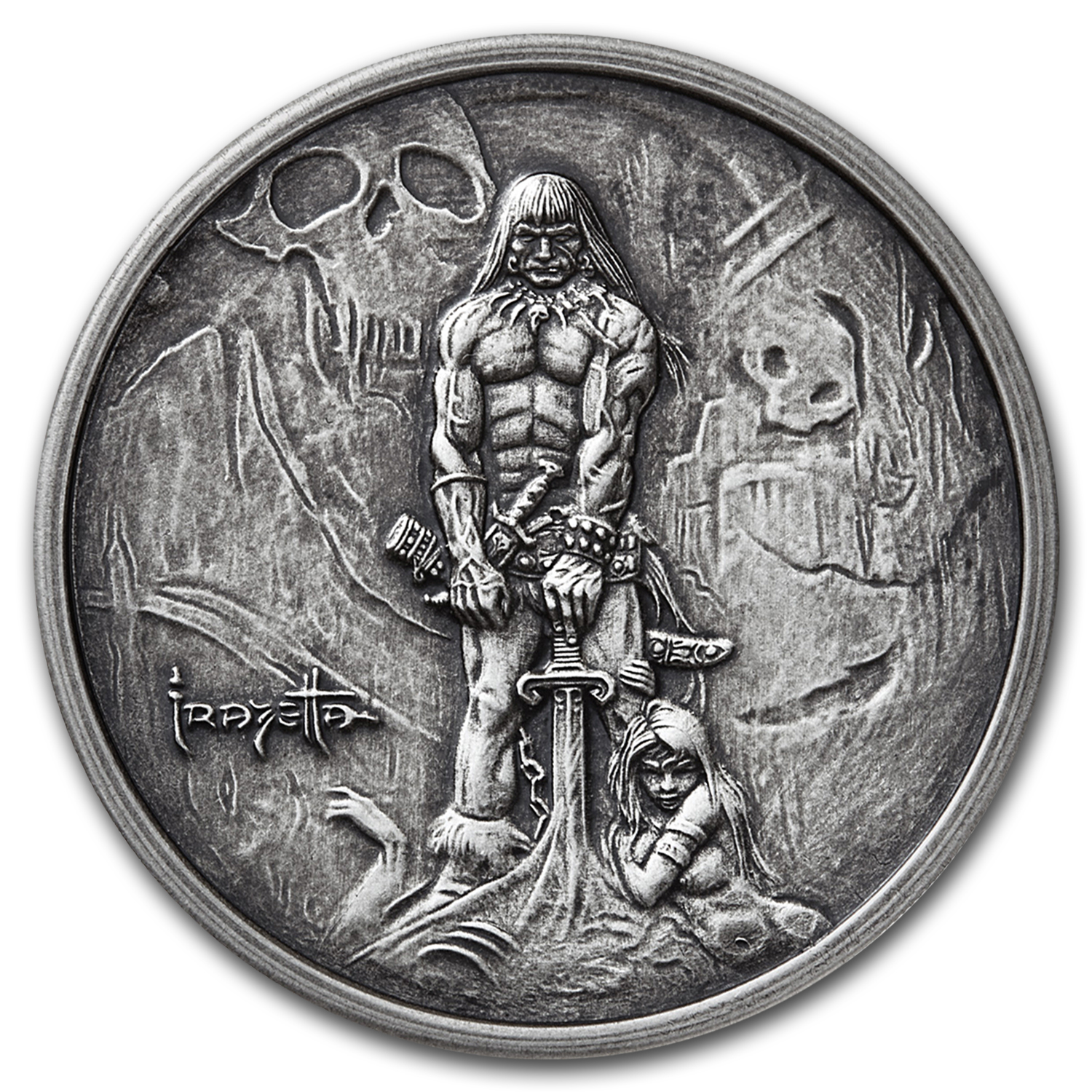 1 oz Silver Antique Round - Frank Frazetta (The Barbarian)