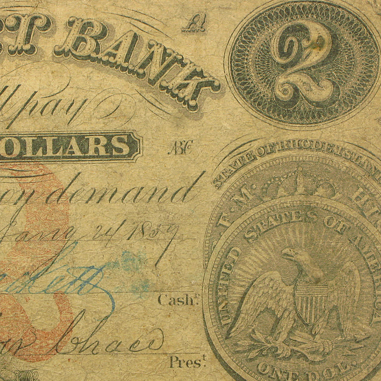 1859 $2 The Pocasset Bank of Fall River, MA Fine