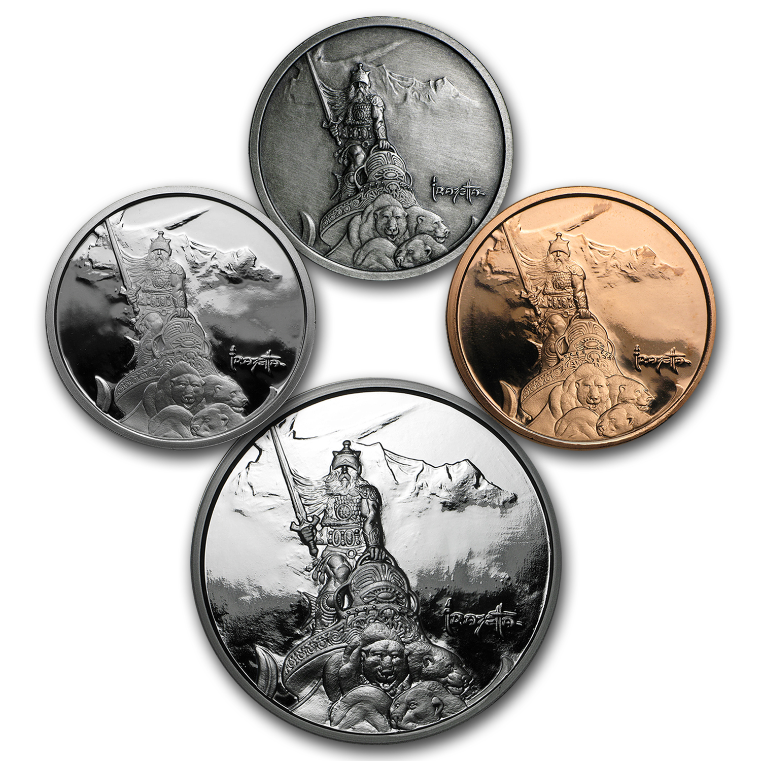 4-Piece Set - Frank Frazetta Collection (Silver Warrior)