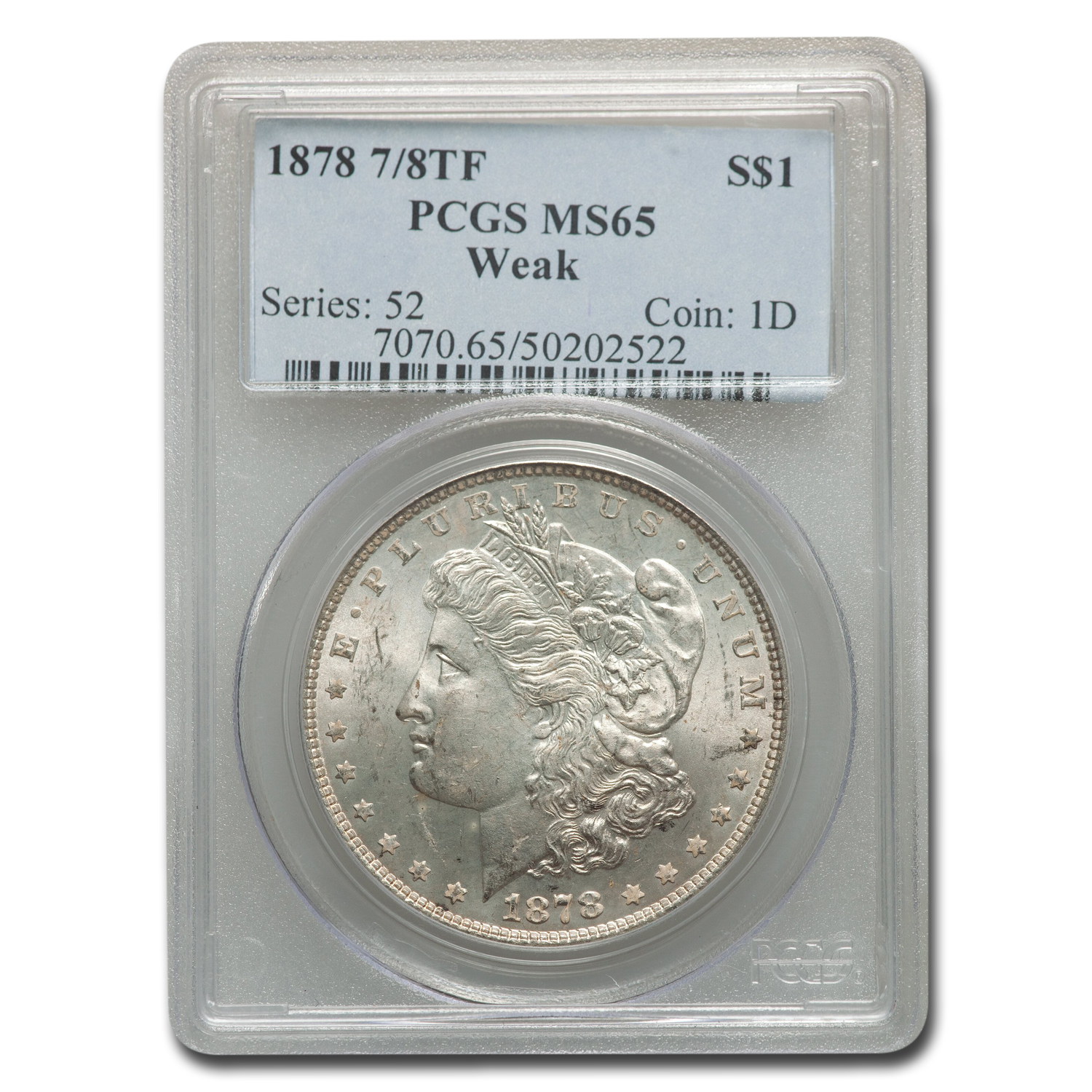 1878 Morgan Dollar 7/8 TF Weak MS-65 PCGS