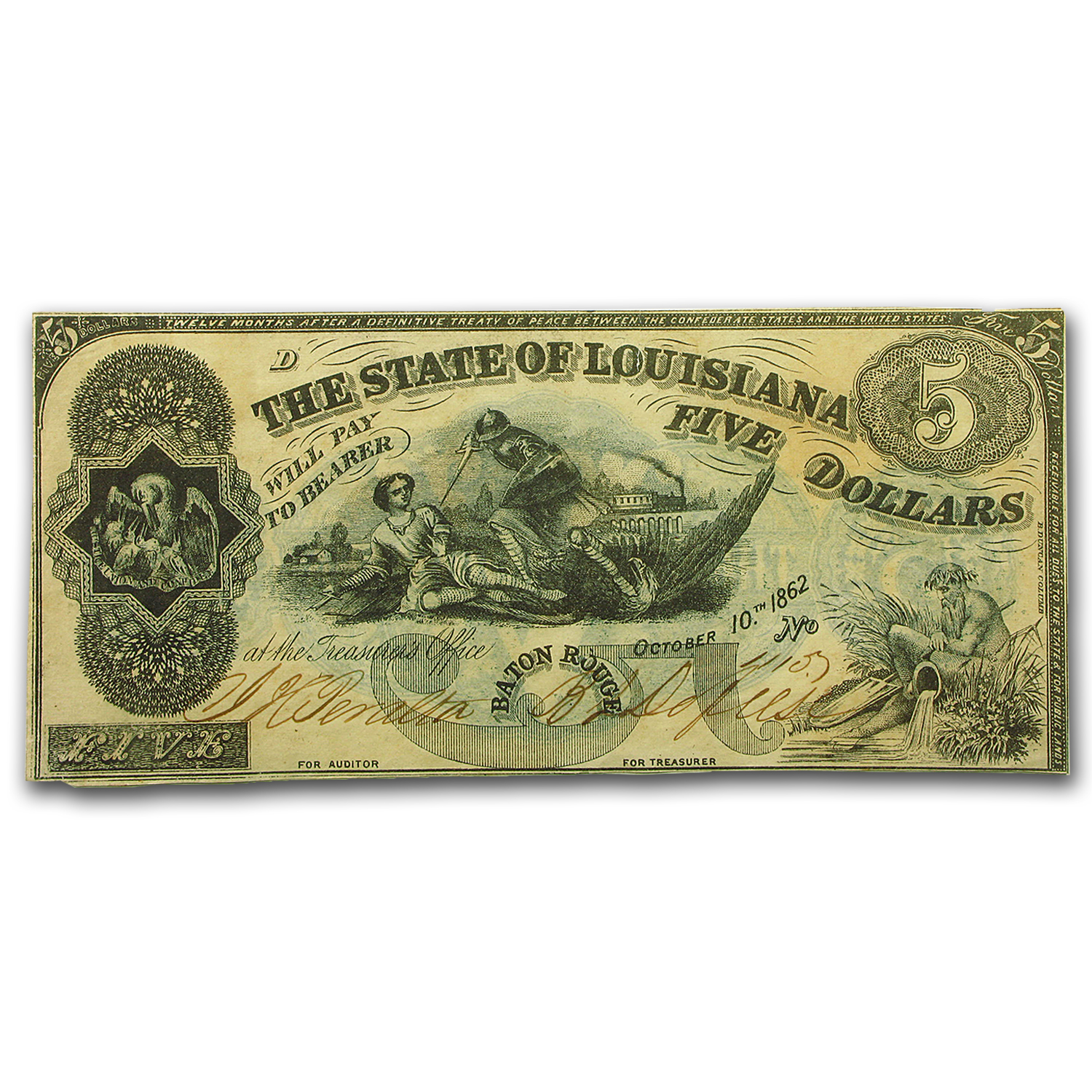 1862 State of Louisiana $5.00 'South Strikes Union' AU (CR#-10)
