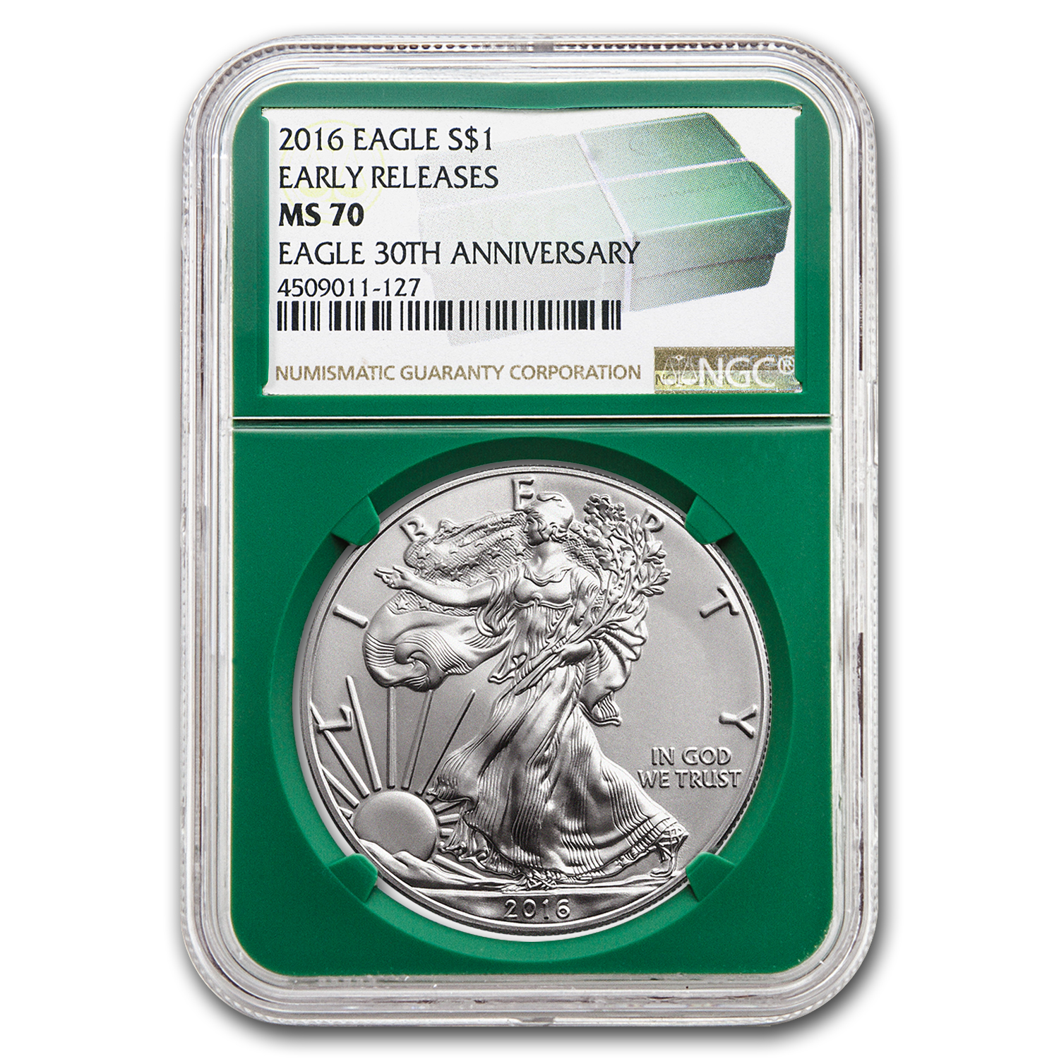 2016 Silver American Eagle MS-70 NGC (ER, Green Holder)