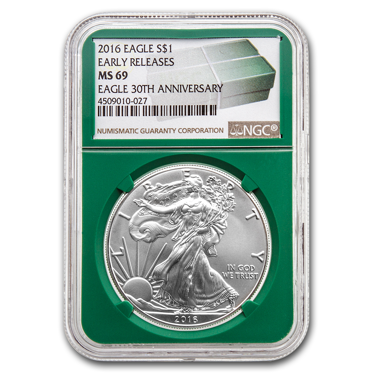 2016 Silver American Eagle MS-69 NGC (ER, Green Holder)