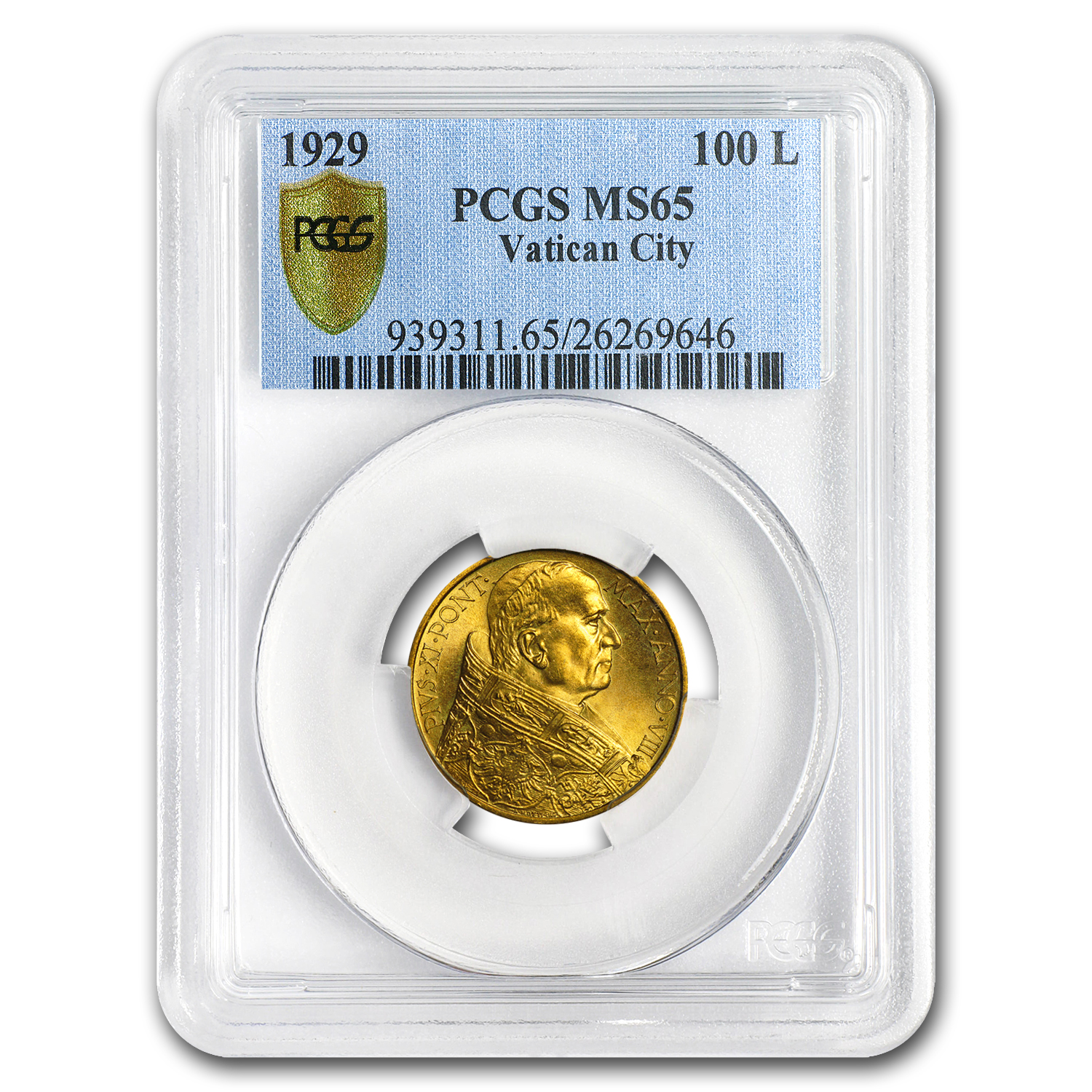 1929 Vatican City Gold 100 Lire Pope Pius XI MS-65 PCGS