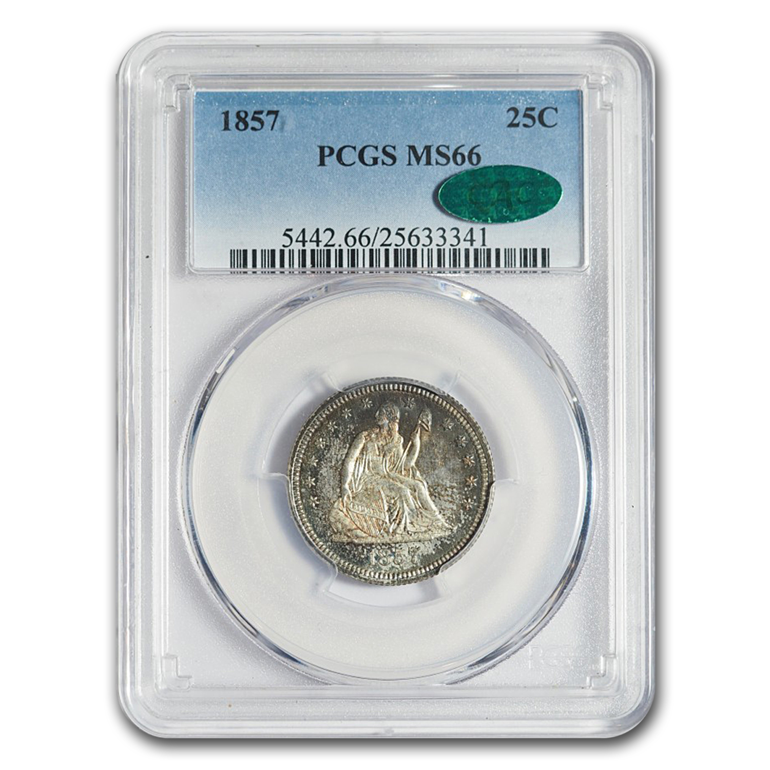 1857 Liberty Seated Quarter MS-66 PCGS CAC