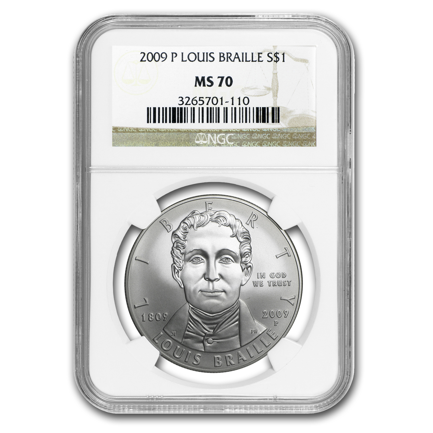 2009-P Louis Braille $1 Silver Commem MS-70 NGC