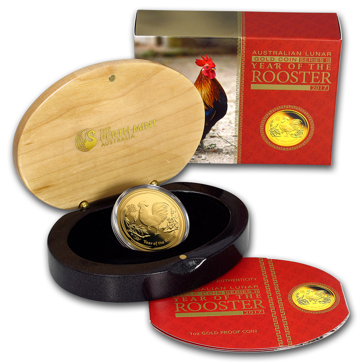 2017 Australia 1 oz Gold Lunar Rooster Proof (w/box & COA)