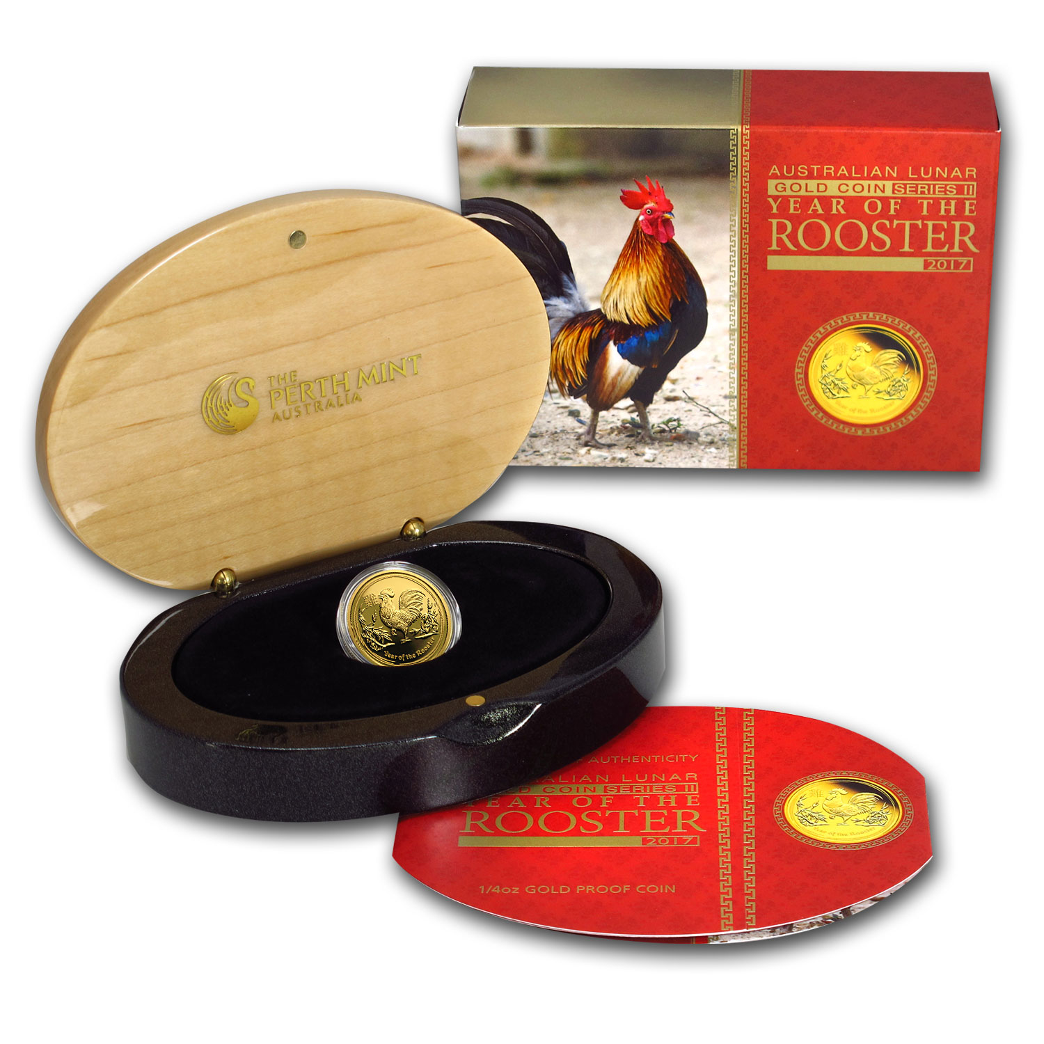 2017 Australia 1/4 oz Gold Lunar Rooster Proof (w/box & COA)
