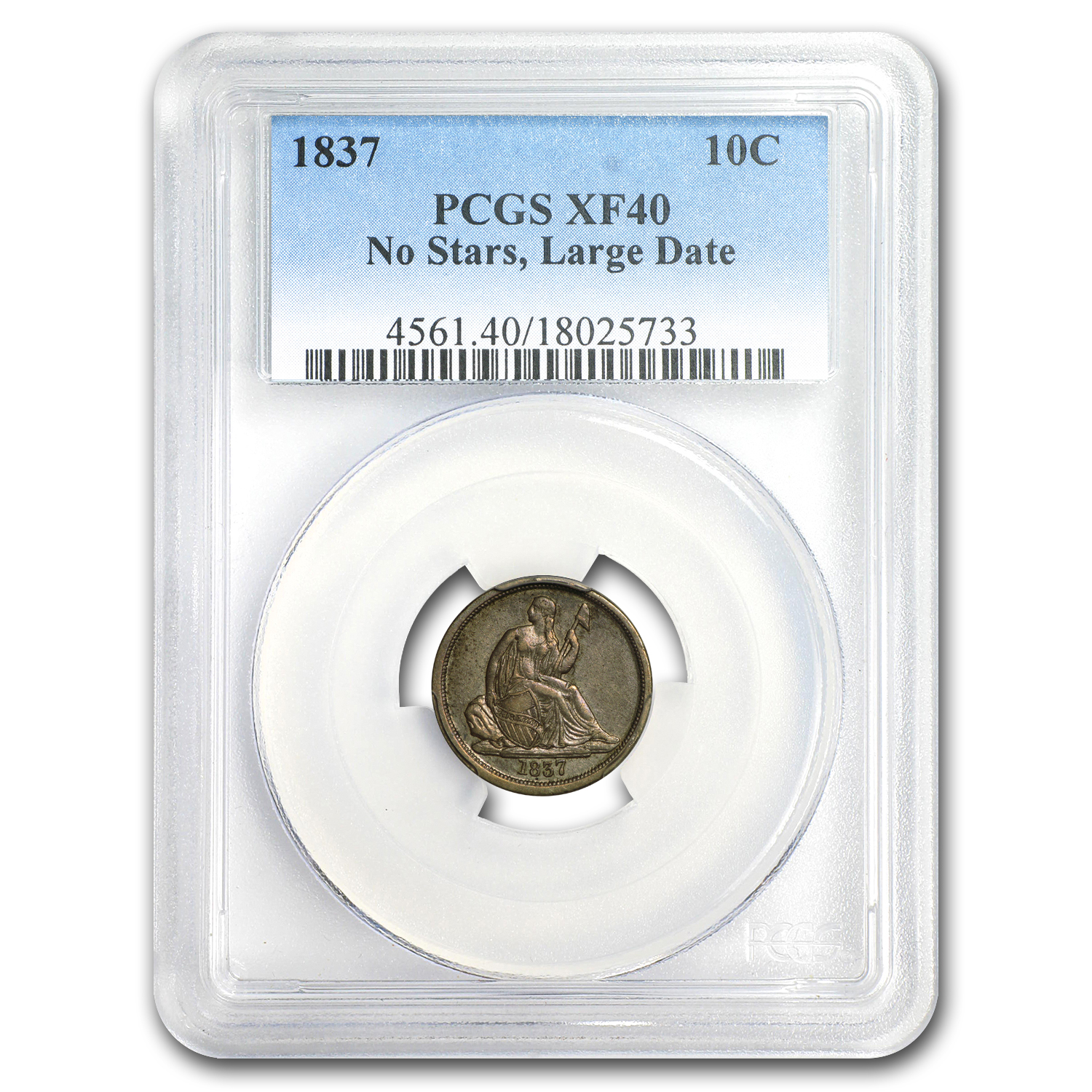 1837 Liberty Seated Dime Large Date XF-40 PCGS