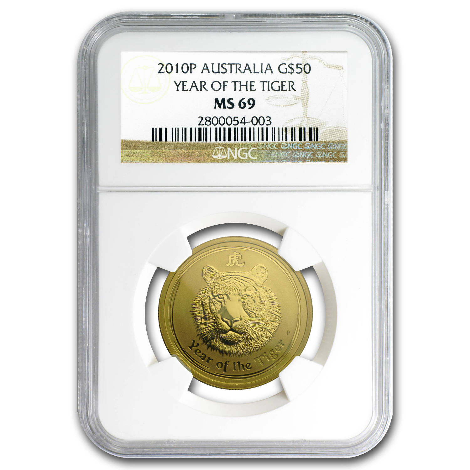 2010 Australia 1/2 oz Gold Lunar Tiger MS-69 NGC (Series II)