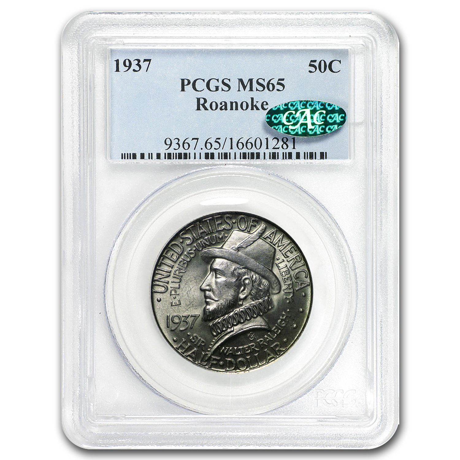 1937 Roanoke Half Dollar 350th Anniversary MS-65 PCGS (CAC)